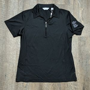 Callaway Black Quarter Zip Polo Shirt short sleeve